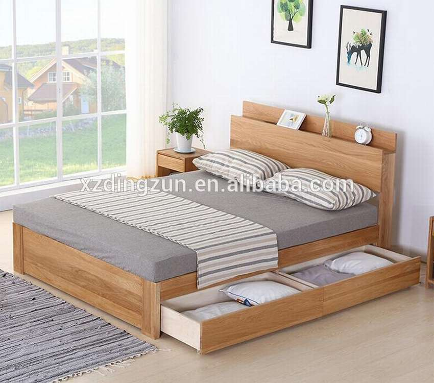 simple double bed designs in wood - 750×662