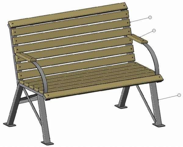 чертеж садовой скамейки из профильной трубы